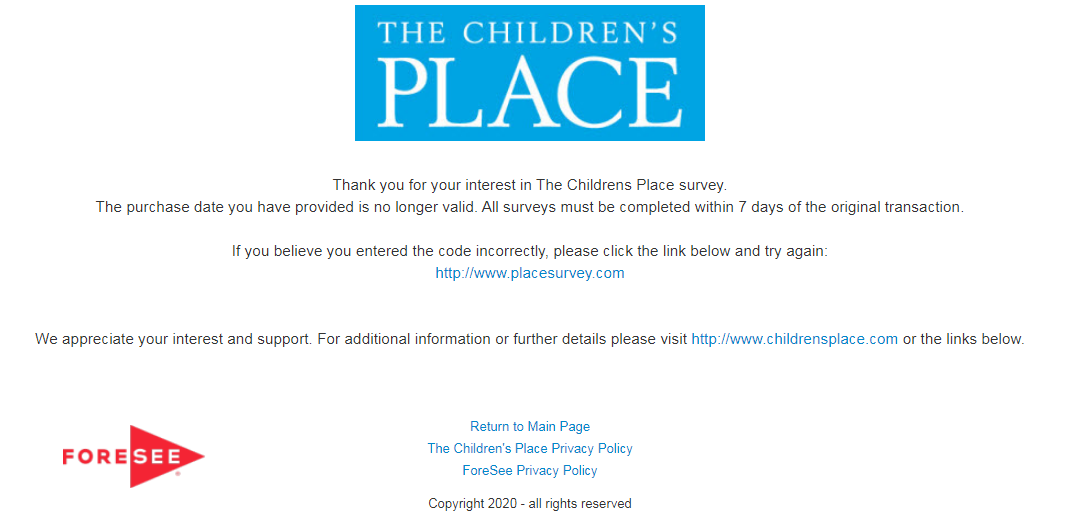 Children's Place Customer Experience Survey