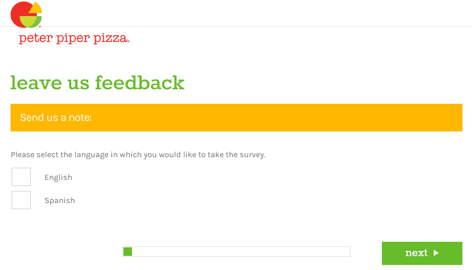 Peter Piper Pizza Customer Experience Survey