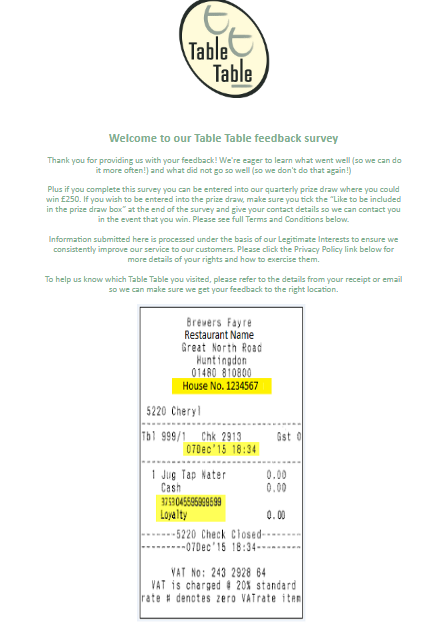 Table Table Guest Feedback Survey