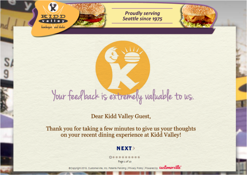 Tell Kidd Valley Guest Satisfaction Survey
