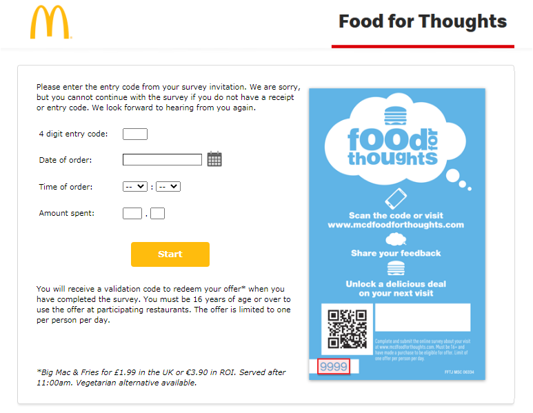 McdFoodForThoughts Customer Satisfaction Survey